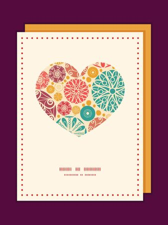 Vector abstract decorative circles heart symbol frame pattern invitation greeting card template Vector