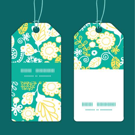 emerald: Vector emerald flowerals vertical stripe frame pattern tags set Illustration