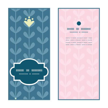 greeting: Vector blloming vines stripes vertical frame pattern invitation greeting cards set
