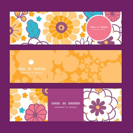 Vector colorful oriental flowers horizontal banners set pattern background