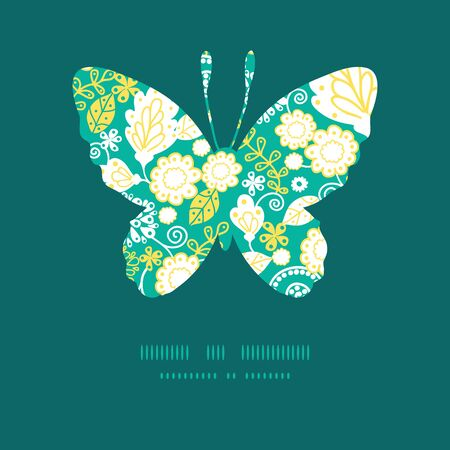 emerald: Vector emerald flowerals butterfly silhouette pattern frame Illustration