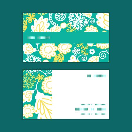 emerald: Vector emerald flowerals horizontal stripe frame pattern business cards set Illustration
