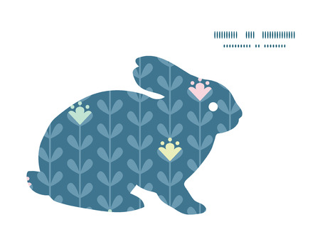 rabbits: Vector blloming vines stripes bunny rabbit silhouette Easter frame Illustration