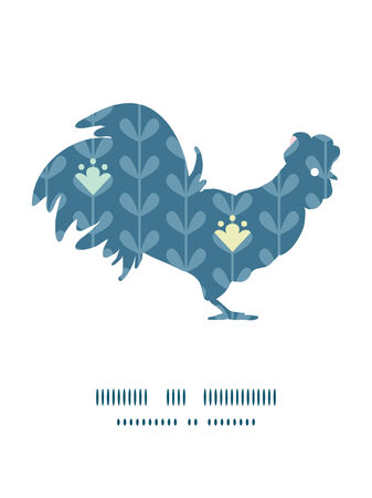 chinese astrology: Vector blloming vines stripes rooster silhouette Easter frame