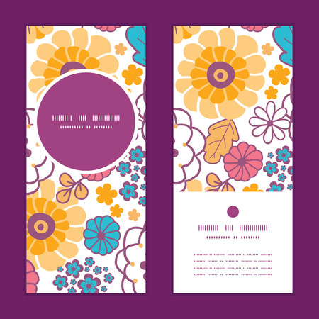 Vector colorful oriental flowers vertical round frame pattern invitation greeting cards set Illustration