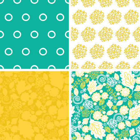 Vector emerald flowerals set of four marching repeat patterns backgrounds