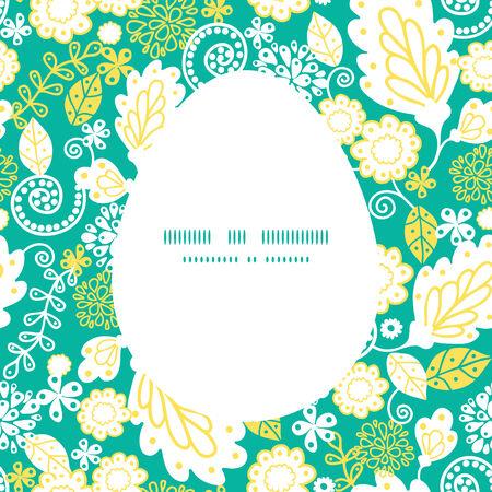 sillhouette: Vector emerald flowerals Easter egg sillhouette frame card template
