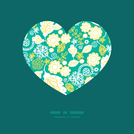 Vector emerald flowerals heart silhouette pattern frame
