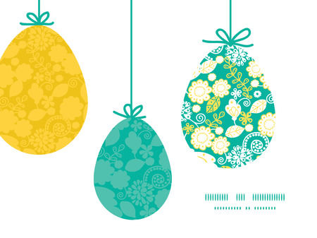emerald: Vector emerald flowerals hanging Easter eggs ornaments sillhouettes frame card template