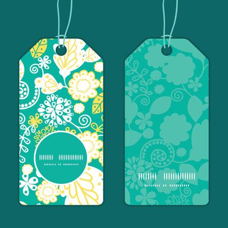 emerald: Vector emerald flowerals vertical round frame pattern tags set Illustration