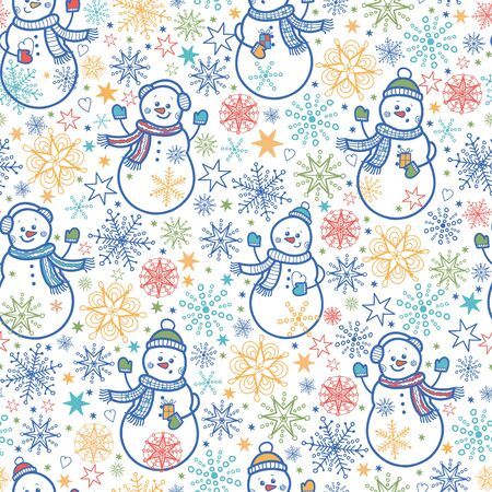 Cute snowmen seamless pattern background Vector