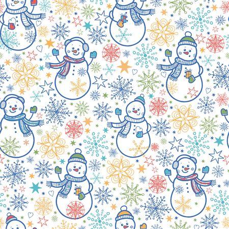Cute snowmen seamless pattern background Illusztráció