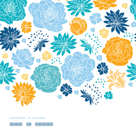 Blue and yellow flowersilhouettes horizontal decor seamless pattern background Vector
