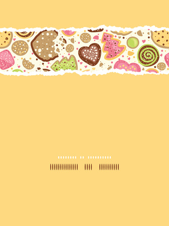 torn heart: Colorful cookies vertical torn seamless pattern background