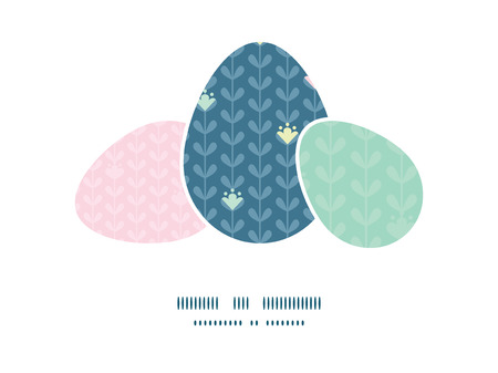 matching: Vector blloming vines stripes three matching Easter egg sillhouettes frame card template Illustration