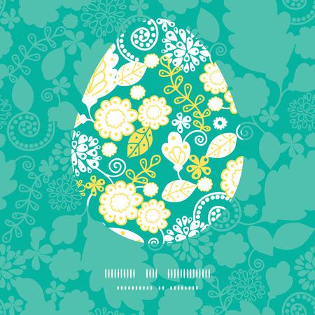 Vector emerald flowerals Easter egg sillhouette frame card template