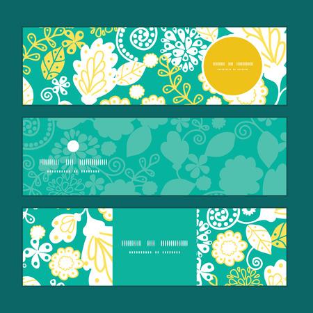 emerald: Vector emerald flowerals horizontal banners set pattern background