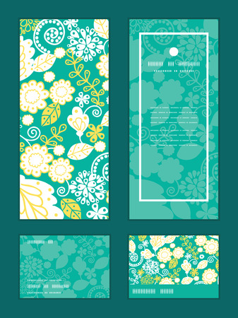 rsvp: Vector emerald flowerals vertical frame pattern invitation greeting, RSVP and thank you cards set