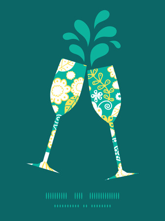 emerald: Vector emerald flowerals toasting wine glasses silhouettes pattern frame