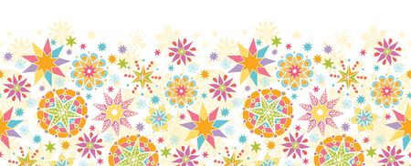 horizontal: Colorful Christmas Stars Horizontal Seamless Pattern Background