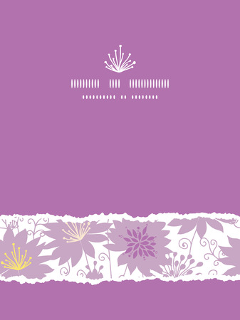 Purple shadow florals vertical torn seamless pattern background Vector