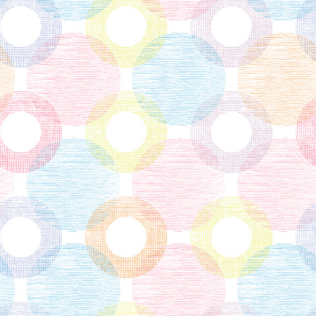 Colorful textile circles seamless patter background border