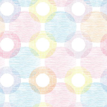 lindo: Coloridos círculos textiles Golpeteo inconsútil fondo frontera Vectores