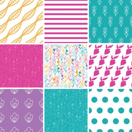 dutch culture: Vector Colorful Tulip Flowers Set of Nine Matching Repeating Patterns Backgrounds