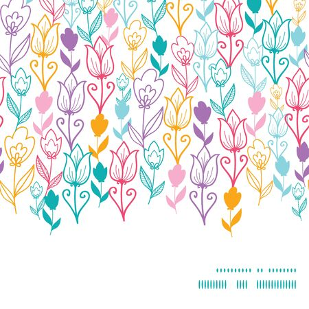 flowers horizontal: Vector Colorful Tulip Flowers Horizontal Frame Seamless Pattern Background