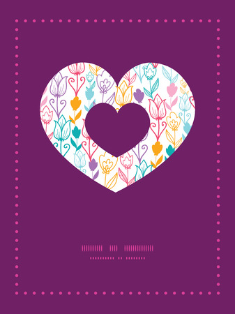 Vector colorful tulip flowers heart symbol frame pattern invitation greeting card template Vector
