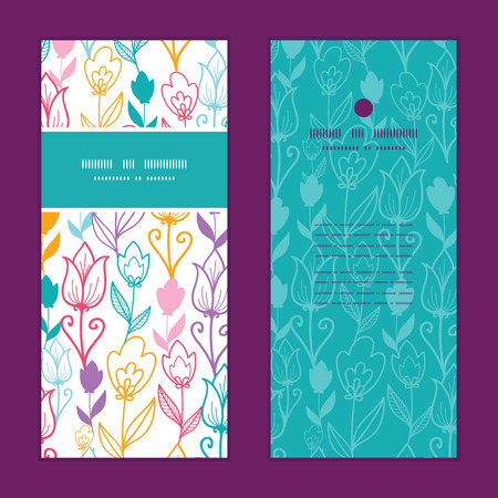 Vector colorful tulip flowers vertical frame pattern invitation greeting cards set