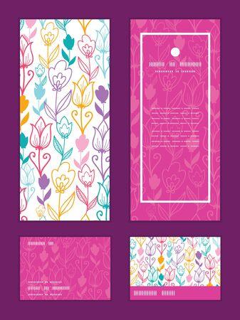 Vector colorful tulip flowers vertical frame pattern invitation greeting, RSVP and thank you cards set Ilustração