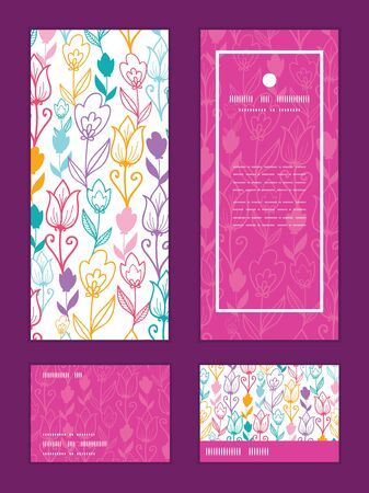 Vector colorful tulip flowers vertical frame pattern invitation greeting, RSVP and thank you cards set Vectores
