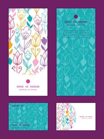 rsvp: Vector colorful tulip flowers vertical frame pattern invitation greeting, RSVP and thank you cards set Illustration