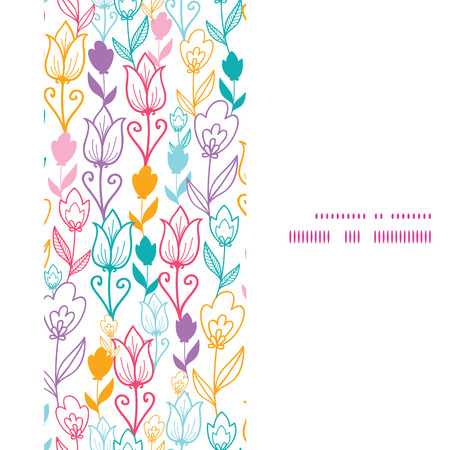 Vector colorful tulip flowers vertical frame seamless pattern background Vectores