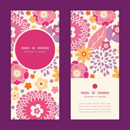 greeting: Vector warm summer plants vertical round frame pattern invitation greeting cards set Illustration