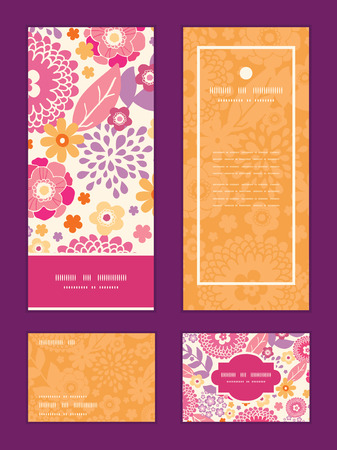 rsvp: Vector warm summer plants vertical frame pattern invitation greeting, RSVP and thank you cards set