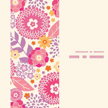 pink bushes: Vector warm summer plants vertical frame seamless pattern background Illustration
