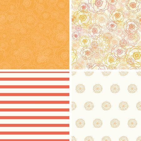 matching: Vector Warm Flowers Set of Four Matching Repeat Patterns