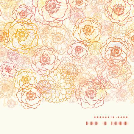 textiles: Vector warm flowers horizontal frame seamless pattern background Illustration