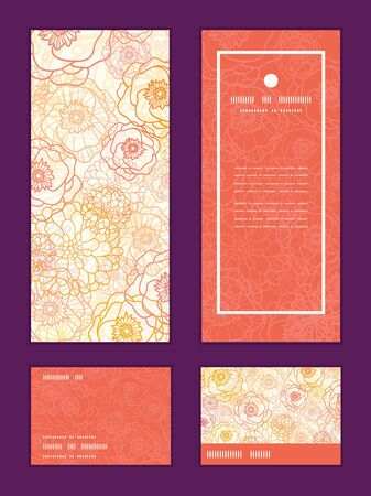 rsvp: Vector warm flowers vertical frame pattern invitation greeting, RSVP and thank you cards set