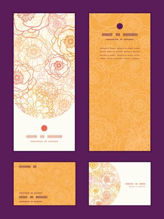 Vector warm flowers vertical frame pattern invitation greeting, RSVP and thank you cards set Vector