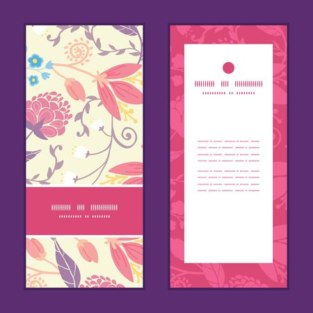 Vector fresh field flowers and leaves vertical frame pattern invitation greeting cards set
