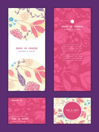 rsvp: Vector fresh field flowers and leaves vertical frame pattern invitation greeting, RSVP and thank you cards set