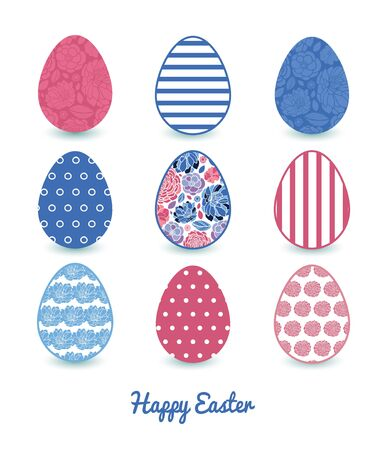 white clip: Vector mosaic flowers set of nine colorful Easter eggs card template
