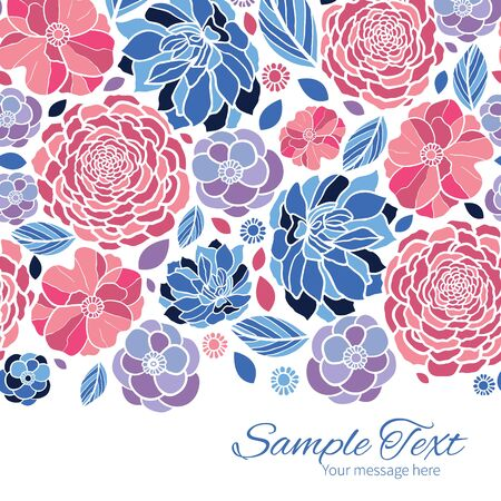 flowers horizontal: Vector mosaic flowers horizontal border card template Illustration
