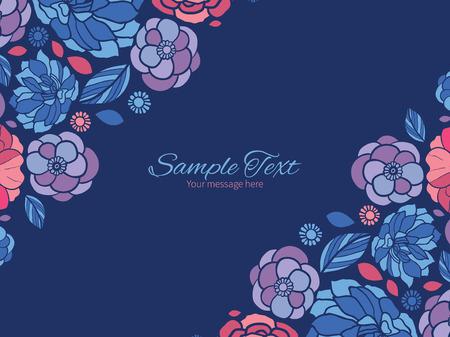 flowers horizontal: Vector mosaic flowers horizontal double corners frame invitation template