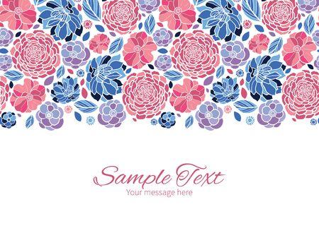 flowers horizontal: Vector mosaic flowers horizontal border greeting card invitation template