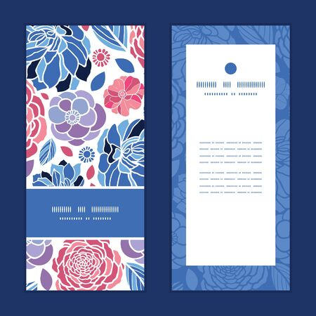 Vector mosaic flowers vertical frame pattern invitation greeting cards set
