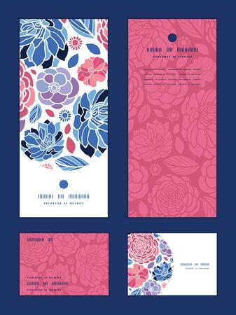 Vector mosaic flowers vertical frame pattern invitation greeting, RSVP and thank you cards set Ilustração